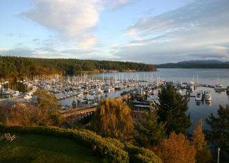 A calm afternoon overlooking the port of Friday Harbor Marina, San Juan Island.