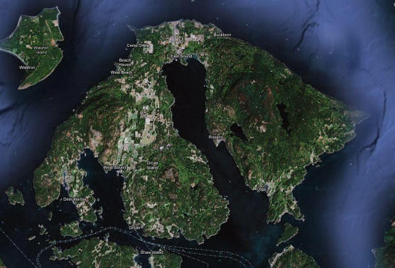 Orcas Island as seen from the heavens.