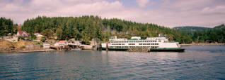 A Washington State ferry pulls into the ferry landing on Orcas Island.